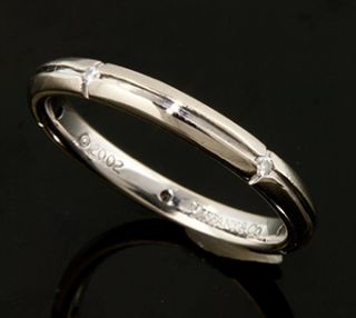 Tiffany Co Streamerica 18K White Gold and Diamond Ring