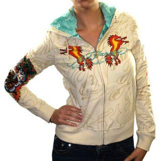 Ed Hardy Christian Audigier Womens Horse Hoodie Sweatshirt Faux Fur