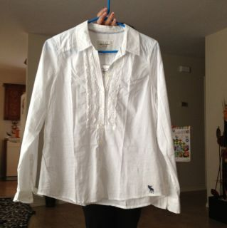 NWT Abercrombie & Fitch Women Fallon White BLOUSE BUTTON DOWN SHIRT