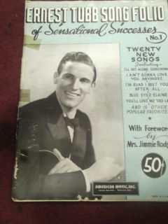 ERNEST TUBBS OPRY HOUSE SONGS COPYRIGHT 1941 SHEET MUSIC COLLECTIBLE