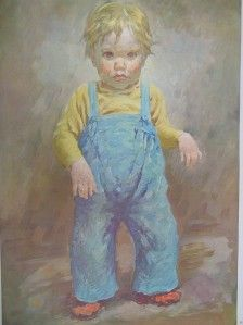 American Artist James Chapin Large Antique Print Here I Am AAA