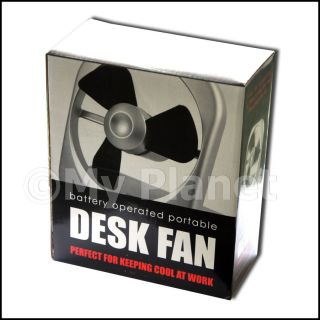 BATTERY OPERATED POWERED DESK FAN HOME OFFICE SAFE PORTABLE COOLING