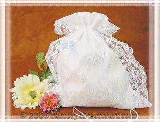 White Lace Satin Brides Purse Dance Money Bag Bridal