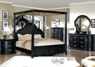 Modern Canopy King Bed Espresso Bedroom Furniture Set