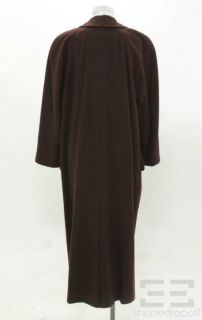 Escada Brown Cashmere Double Breasted Button Front Coat Size 36