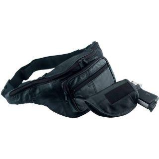 Black Leather Fanny Pack w Gun Holster Men or Women Waist Belt Bag Gun
