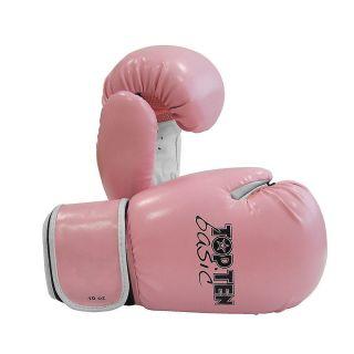 New Top Ten Basic Muay Thai MMA Punching Bag Boxing Gloves Pink White