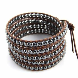 Chan Luu Brown Leather & Hematite Crystal Beads Wrap Bracelet