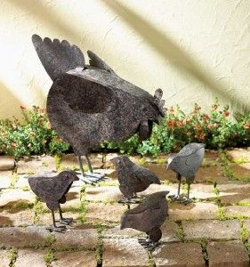 Chicken Farm Garden Yard Statue Lawn Flower Bed Decor