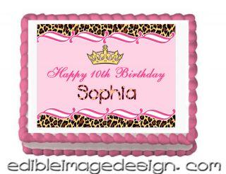 Pink Leopard Design Print Edible Birthday Cake Image Cupcake Topper