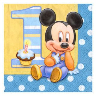 Baby Mickey Mouse 1st Birthday Party Luncheon Napkins