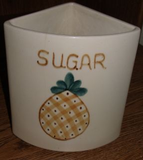 POTTERY CANISTER PURITAN FRUIT DESIGN ESMOND USA Replacement Sugar