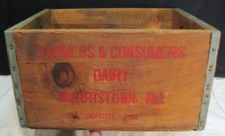 Vtg Farmers Dairy Morristown NJ Milk Bottle Crate Carrier Wood Box