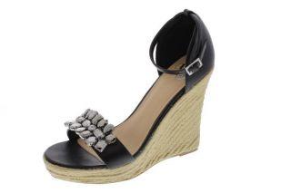 Famous Catalog Black Embellished Espadrilles Wedges Sandals Shoes 8 5