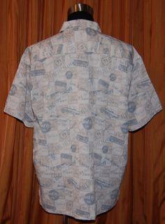 Hard Rock Cafe Niagara Falls NY Short Sleeve Beige Blue Shirt Mens XL