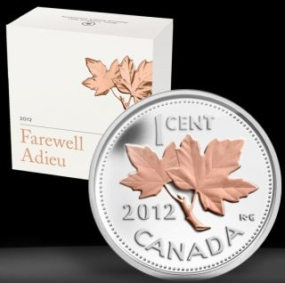 2012 Canada Farewell to Penny .9999 1/2 Oz Silver 1c PROOF Coin Gold
