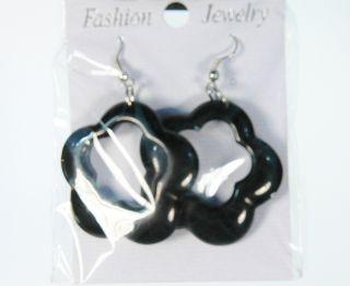 Fashion Jewelry 70s Style Pierced Flower Hoop Earrings Black