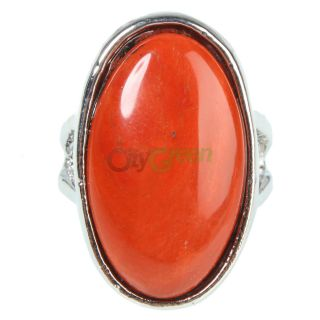 New Fashion Jewelry Ring Size 10 Oval Style Red Natural Stone
