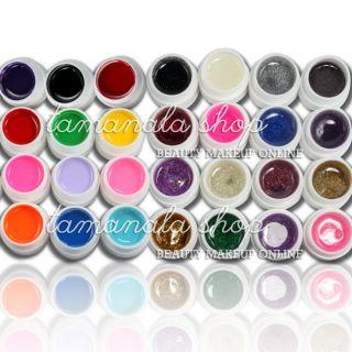 Pure 16 Glitter Color UV Builder Gel Nail Art Fasle Tips Salon Set
