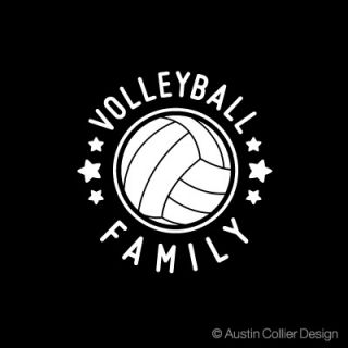 volleyball family white vinyl decal