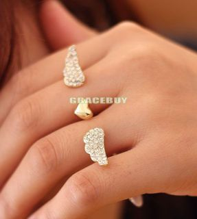 New Fashion Double / Two Fingers Ring Adjustable Size Gold Colour With