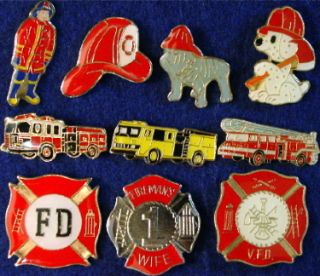Firefighting Fireman Dog Badges Engines 10 Lapel Pins
