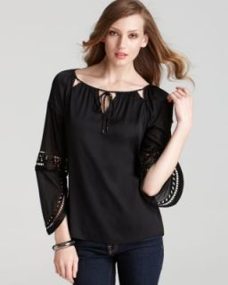 Elie Tahari New Etta Black Beaded Silk Long Sleeve Tunic Top Shirt s