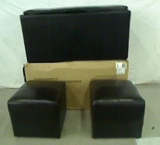 Sheridan Faux Leather Storage Bench with 2 Side Ottomans