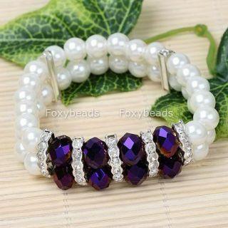 1p purple crystal glass faux pearl bracelet 6 l new