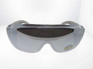 Silver Mirrored Lens Shield Sunglasses Fits Over Prescription Glasses