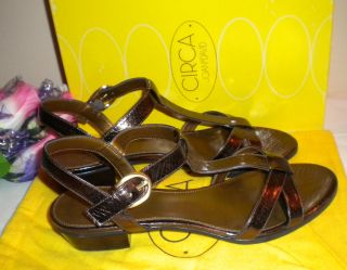 Joan David Shoes Brynn Patent Leather Sandals in Bonze and Black 8