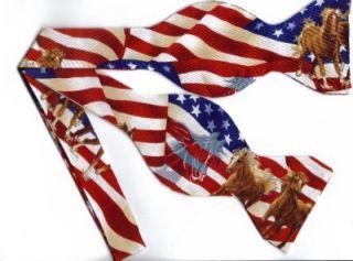 self tie bow tie american flags w running horses