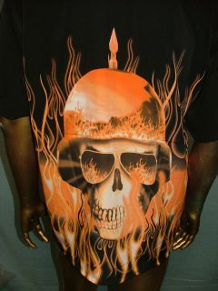 HOUSE by DRAGONFLY Blk SKULL FLAMES CHOPPER BIKER BOWLING SHIRT MENS L