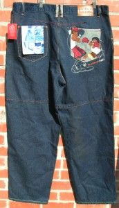 FUBU Platinum Fat Albert Bill Cosby Character Embroidered Blue Jeans