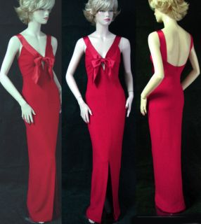 St John Evening Venetian Red SHMMR Knit Gown Sz 8 Liquid Satin Trim