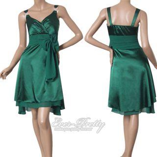 Ever Pretty Dark Green Glamorous Bowtie Sash Short Cocktail Dress