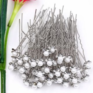 50pc White Faux Pearl Flower Crystal Clip Hair Pins New