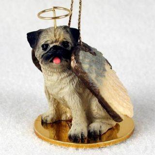 Pug Brown Fawn Dog Angel Tiny One Ornament Figurine Statue