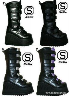 Goth Ladies Buckle Platform Boots Flat Rock Womens Unisex Shoes Mens