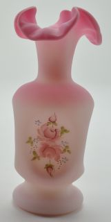Fenton Art Glass Pink Rose Burmese Colored Ruffle Top Vase Hand