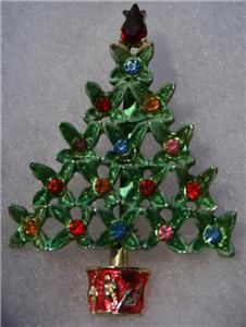 Vintage Holiday Christmas Enamel Multi Color Rhinestone Brooch Pin