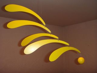 FLENSTED MOBILES FLOWING RHYTHM Yellow Hanging Baby Mobile Ex Used