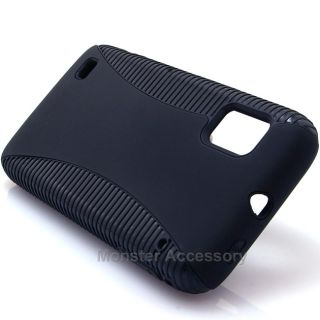 Black Dual Flex Hard Case Gel Cover for ZTE Warp N860 Boost Mobile