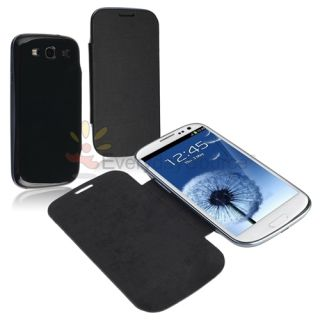 BLACK Leather Flip Book Case Battery Cover for Samsung Galaxy S3 III