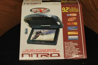 NEW BMW NITRO 9 2 FLIP DOWN CEILING MOUNT MONITOR TV LCD FOR USE W DVD