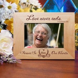 Personalized Love Never Ends Memorial Picture Frame Engraved Wood