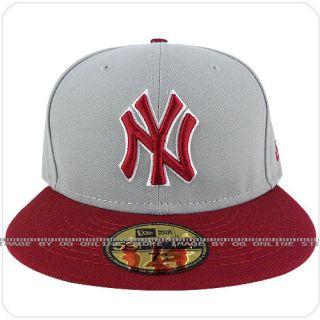 new era 59fifty new york yankees grey NY burgundy visor fitted cap hat