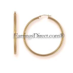 EXTRA LARGE BIG 2 (50mm) diameter 14k/kt GOLD 3mm Thick Hoop