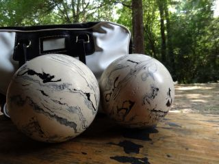 Vintage Brunswick Duck Pin Bowling Balls and Case