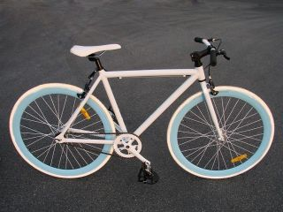 Track Fixed Gear Bike Fixie Single Speed Road Bicycle White Blue